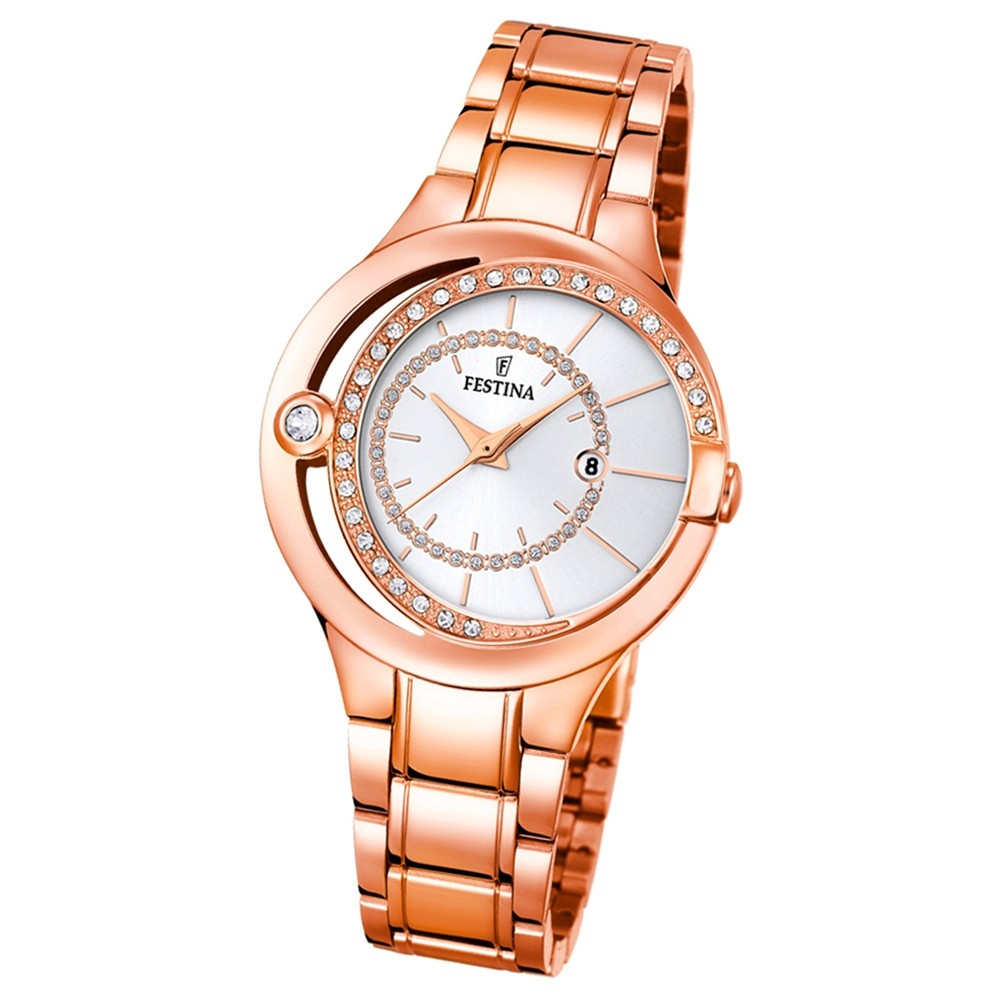 Festina Damen-Armbanduhr Mademoiselle analog Quarz Edelstahl rosegold UF16949/1