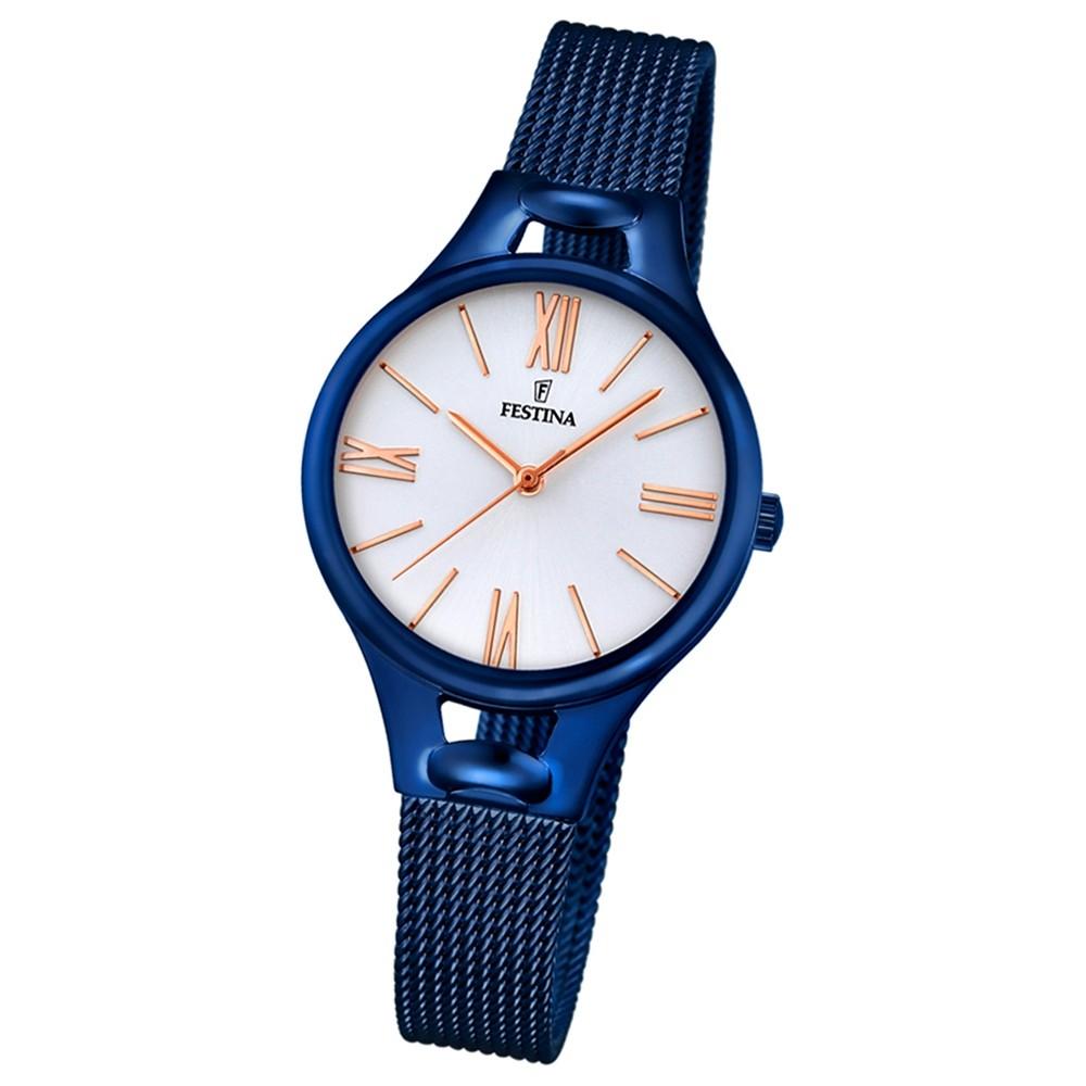 Festina Damen-Armbanduhr Mademoiselle analog Quarz Edelstahl blau UF16953/1