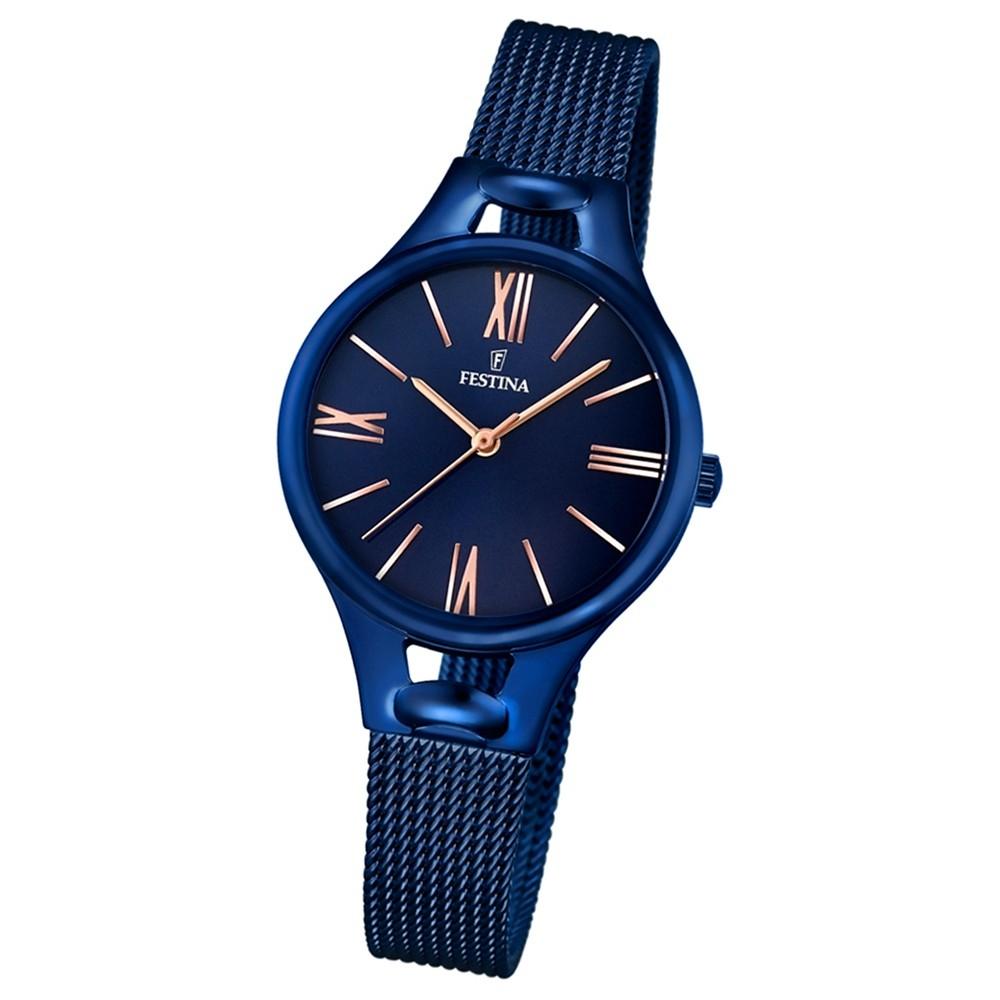 Festina Damen-Armbanduhr Mademoiselle analog Quarz Edelstahl blau UF16953/2
