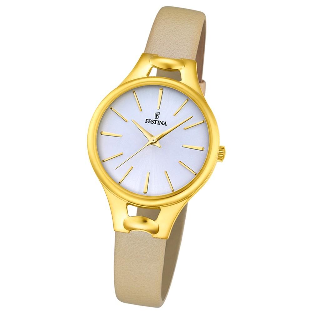 Festina Damen-Armbanduhr Mademoiselle analog Quarz Leder beige UF16955/1