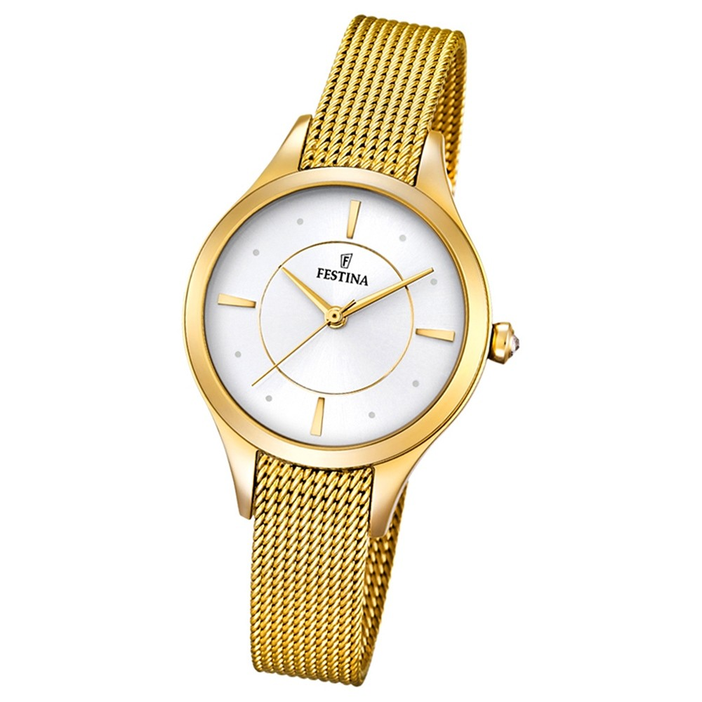Festina Damen-Armbanduhr Mademoiselle analog Quarz Edelstahl gold UF16959/1