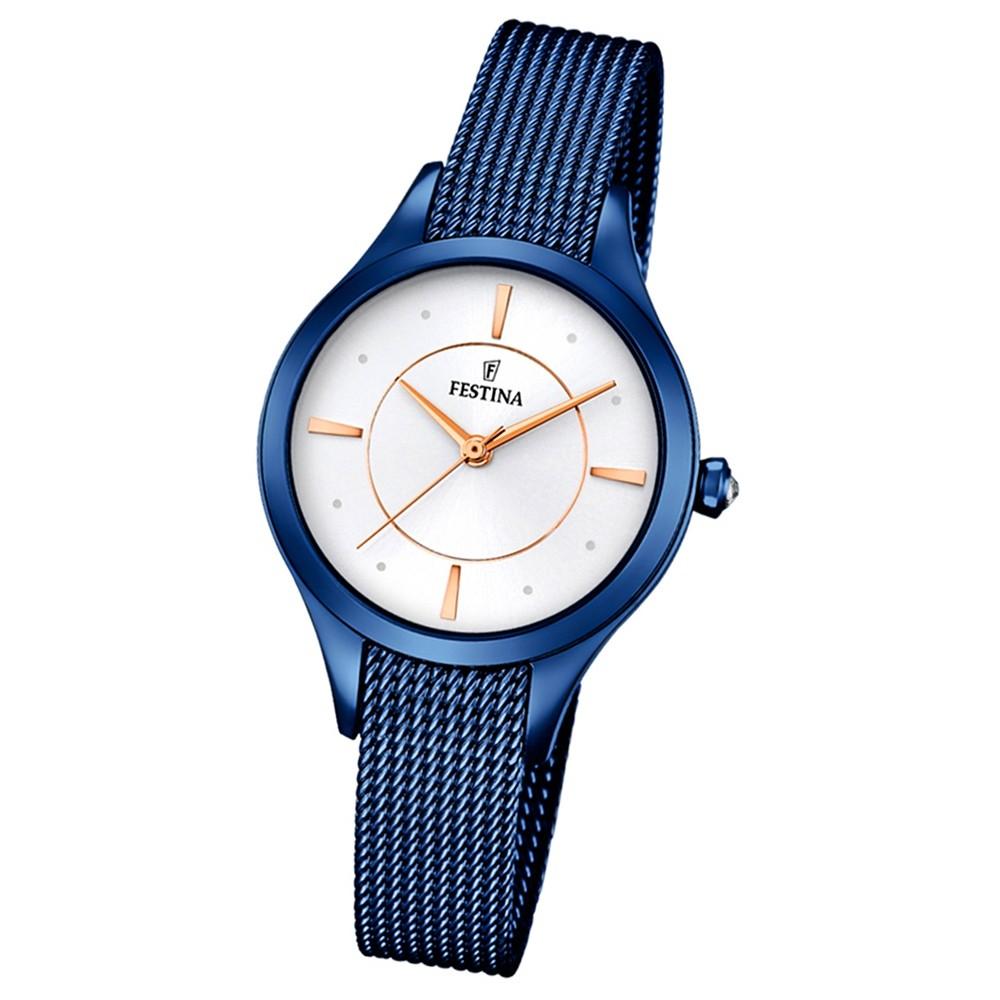 Festina Damen-Armbanduhr Mademoiselle analog Quarz Edelstahl blau UF16961/1