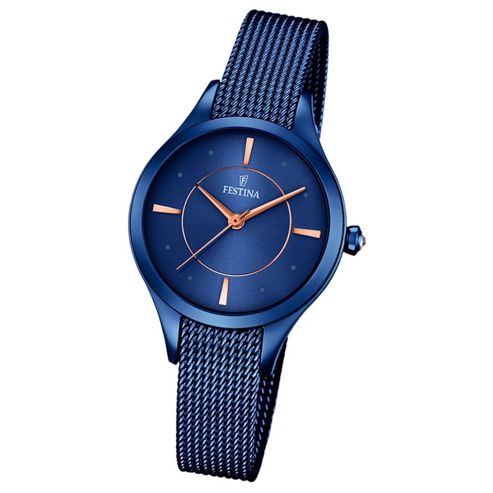 Festina Damen-Armbanduhr Mademoiselle analog Quarz Edelstahl blau UF16961/2