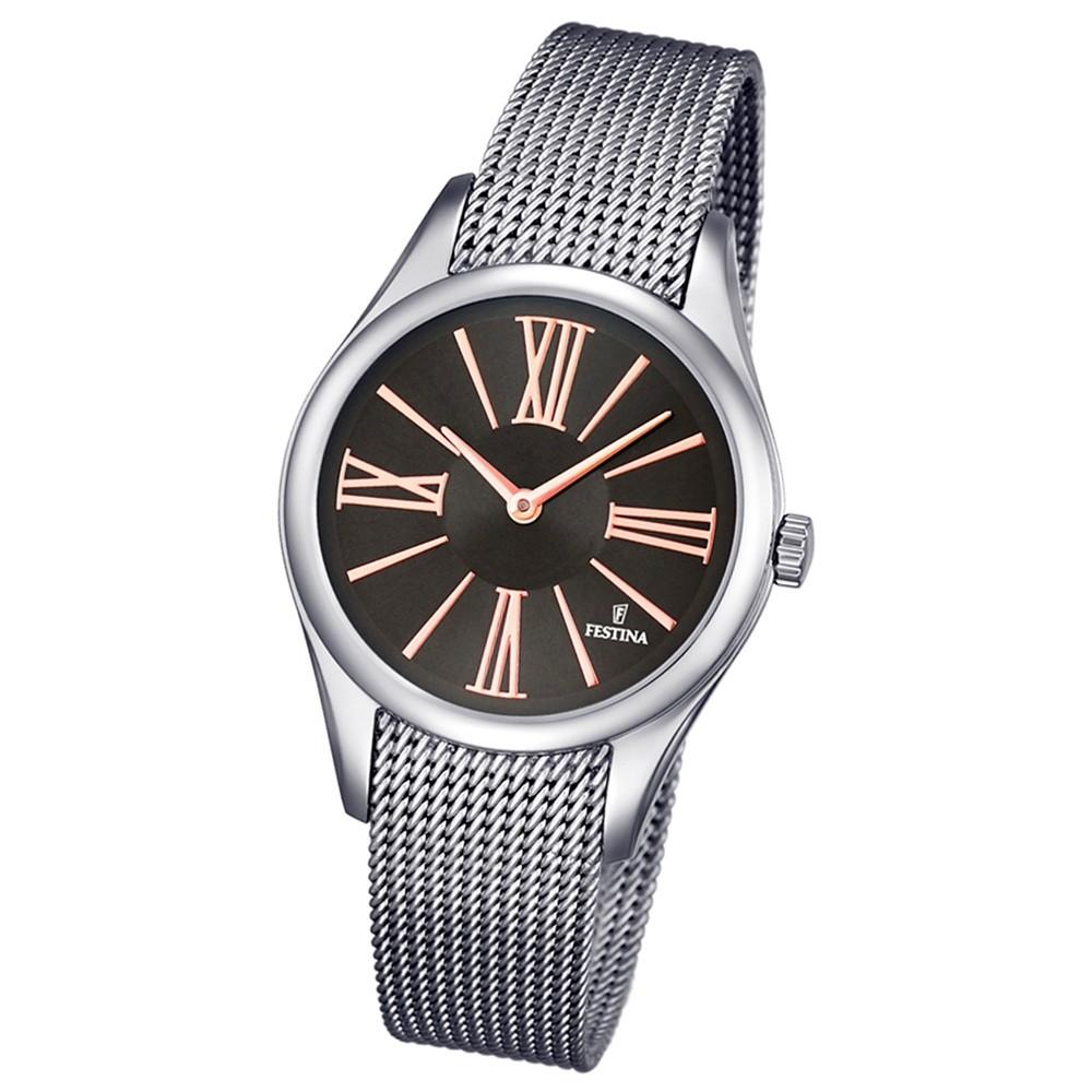 Festina Damen-Armbanduhr Boyfriend analog Quarz Edelstahl silber UF16962/2