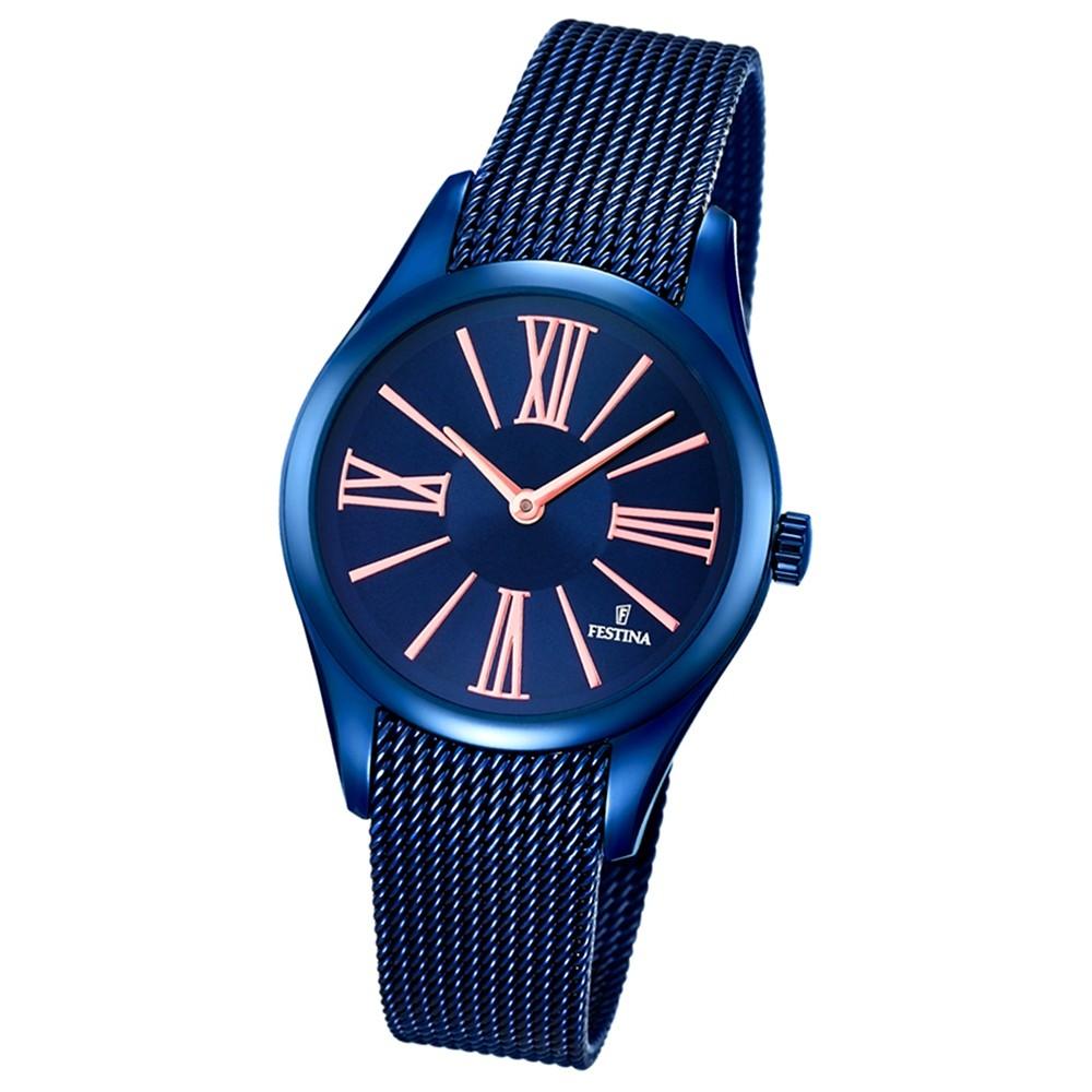 Festina Damen-Armbanduhr Boyfriend analog Quarz Edelstahl blau UF16963/1