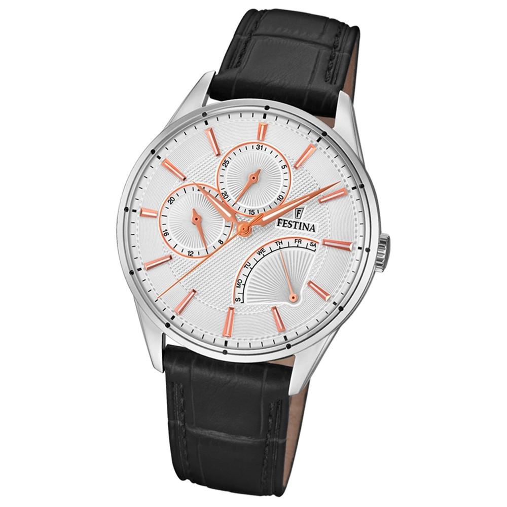 FESTINA Herren-Armbanduhr Multifunktion F16974/1 Quarz Leder schwarz UF16974/1