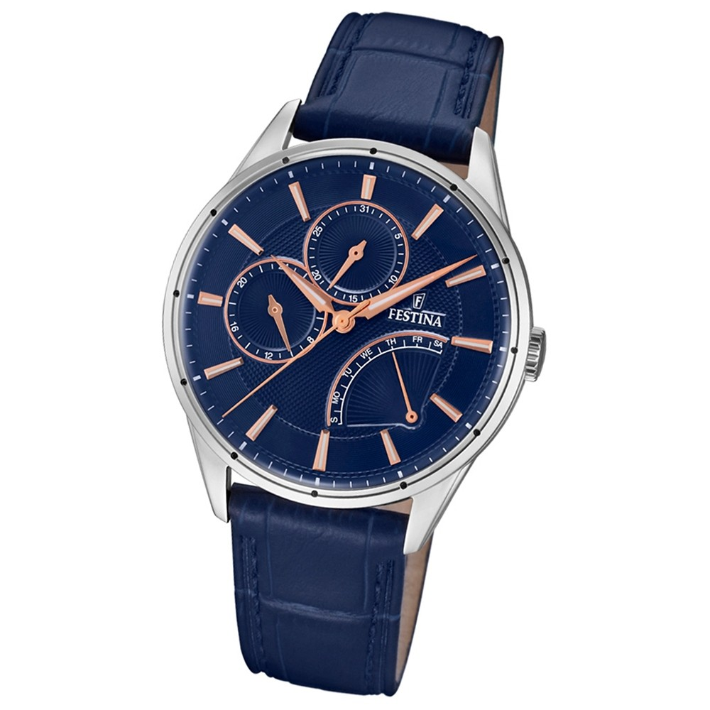 FESTINA Herren-Armbanduhr Multifunktion F16974/2 Quarz Leder braun UF16974/2