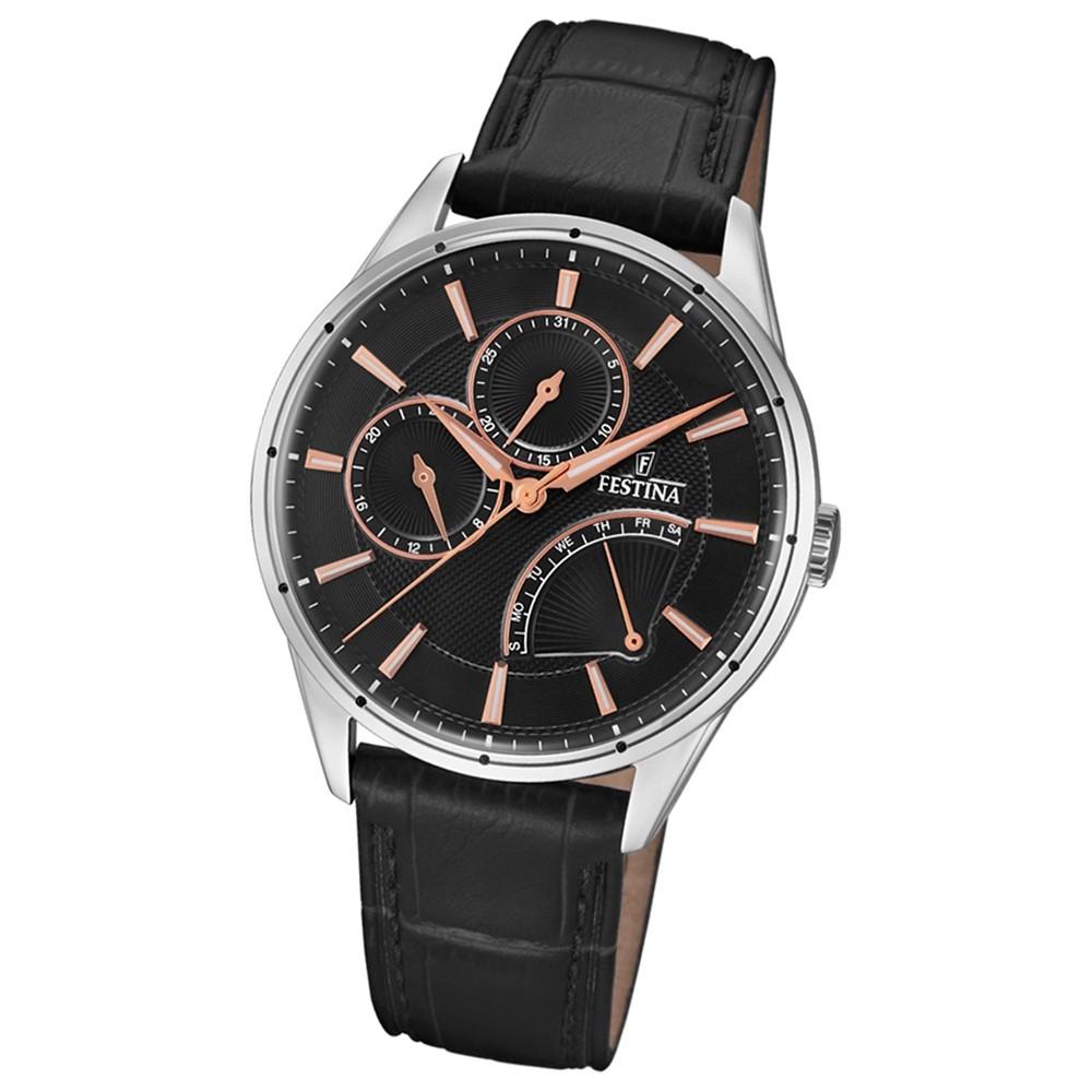 FESTINA Herren-Armbanduhr Multifunktion F16974/4 Quarz Leder schwarz UF16974/4