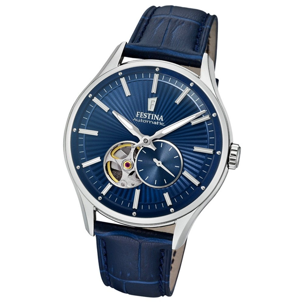 FESTINA Herren-Armbanduhr Automatik F16975/2 Automatik Leder blau UF16975/2