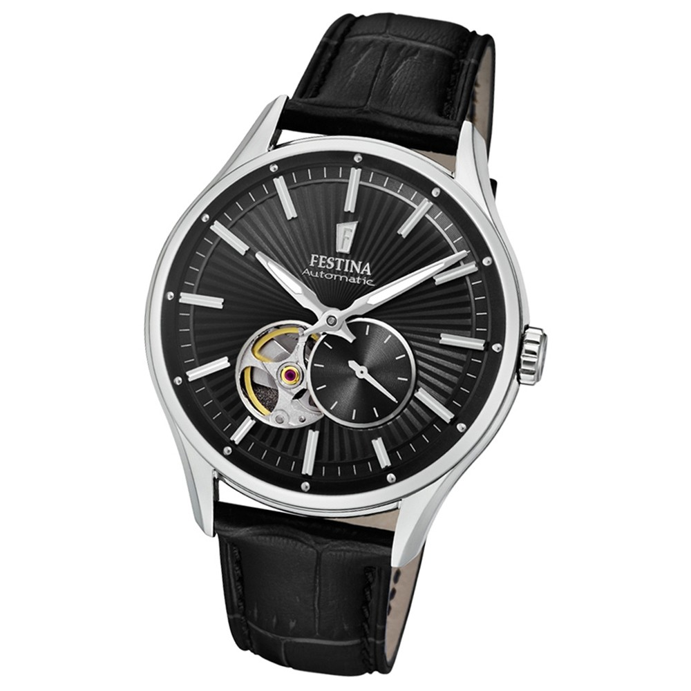 FESTINA Herren-Armbanduhr Automatik F16975/3 Automatik Leder schwarz UF16975/3