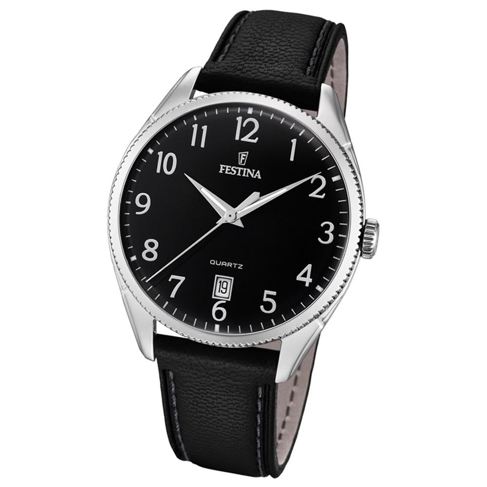 FESTINA Herren-Uhr Lederband klassisch F16977/2 Quarz Leder schwarz UF16977/2
