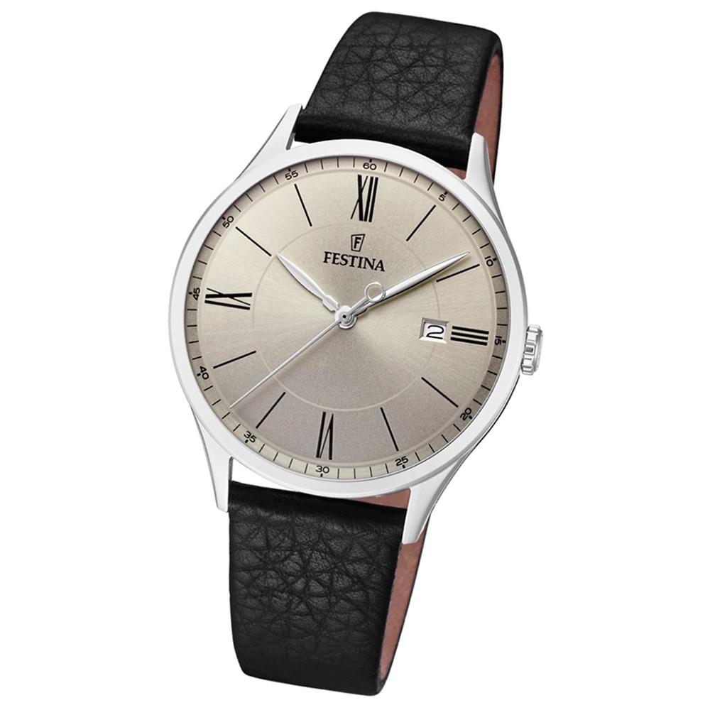 FESTINA Herren-Uhr Lederband klassisch F16978/2 Quarz Leder schwarz UF16978/2