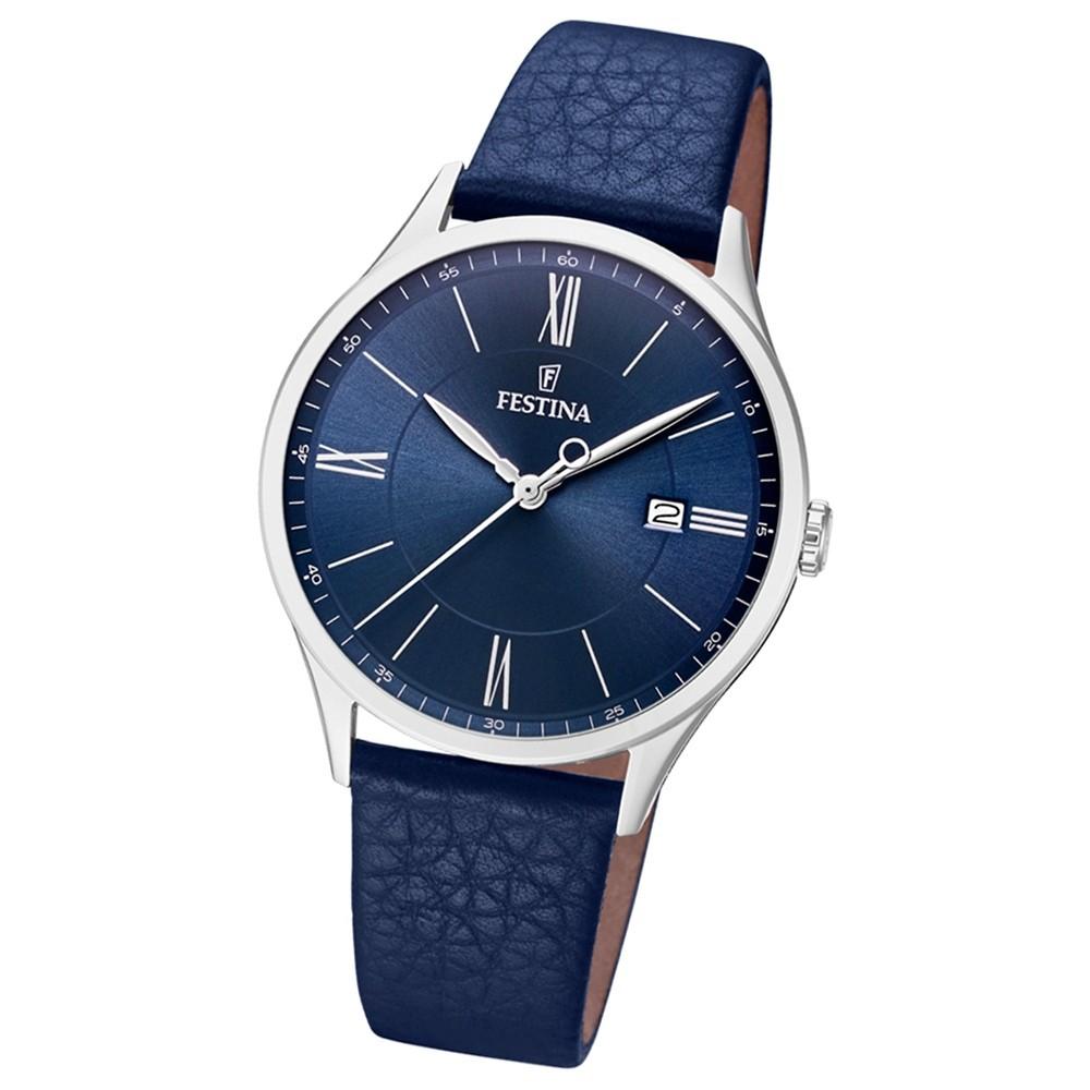FESTINA Herren-Uhr Lederband klassisch F16978/3 Quarz Leder blau UF16978/3