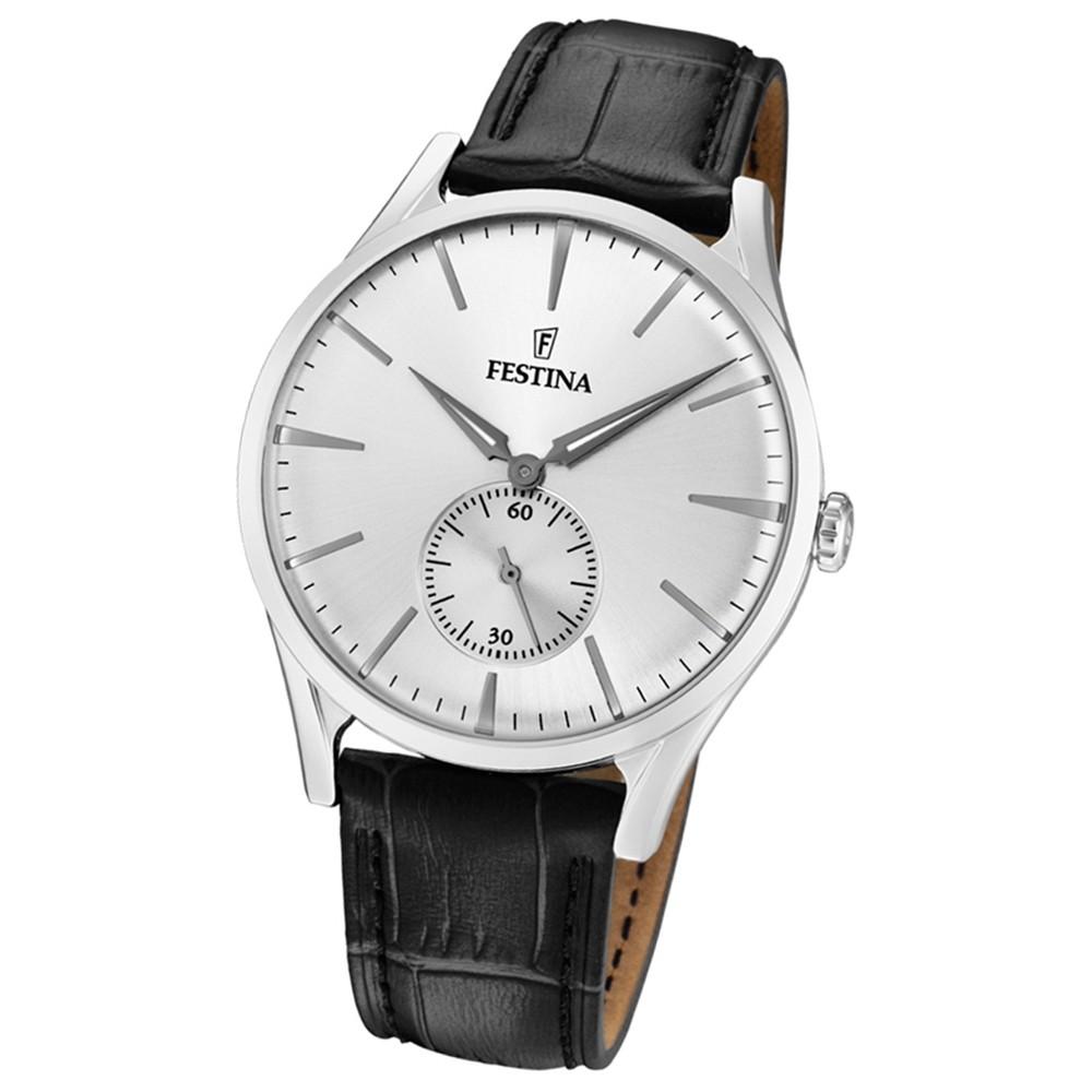 FESTINA Herren-Uhr Lederband klassisch F16979/1 Quarz Leder schwarz UF16979/1