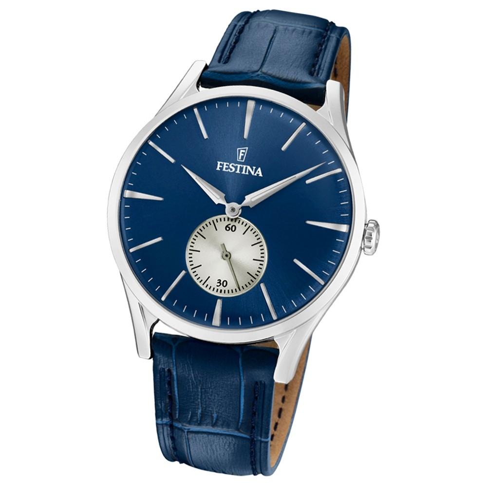 FESTINA Herren-Uhr Lederband klassisch F16979/3 Quarz Leder blau UF16979/3