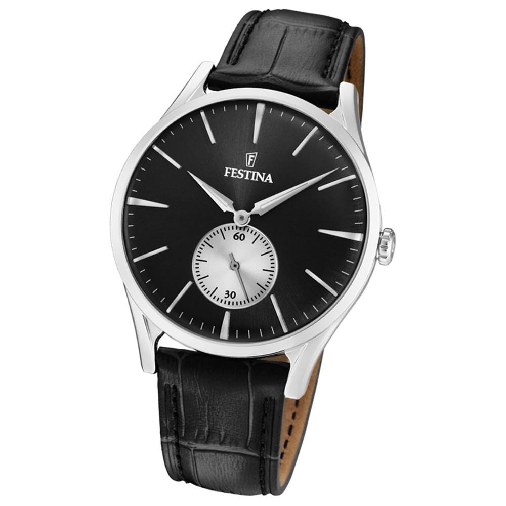 FESTINA Herren-Uhr Lederband klassisch F16979/4 Quarz Leder schwarz UF16979/4