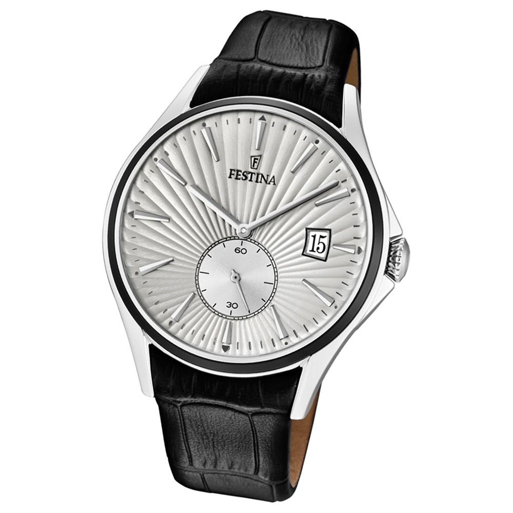 FESTINA Herren-Uhr Lederband klassisch F16980/1 Quarz Leder schwarz UF16980/1