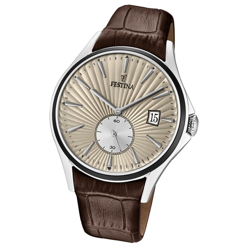 FESTINA Herren-Uhr Lederband klassisch F16980/2 Quarz Leder braun UF16980/2