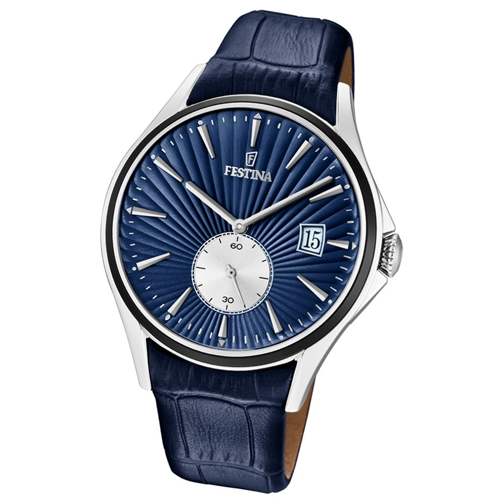 FESTINA Herren-Uhr Lederband klassisch F16980/3 Quarz Leder blau UF16980/3