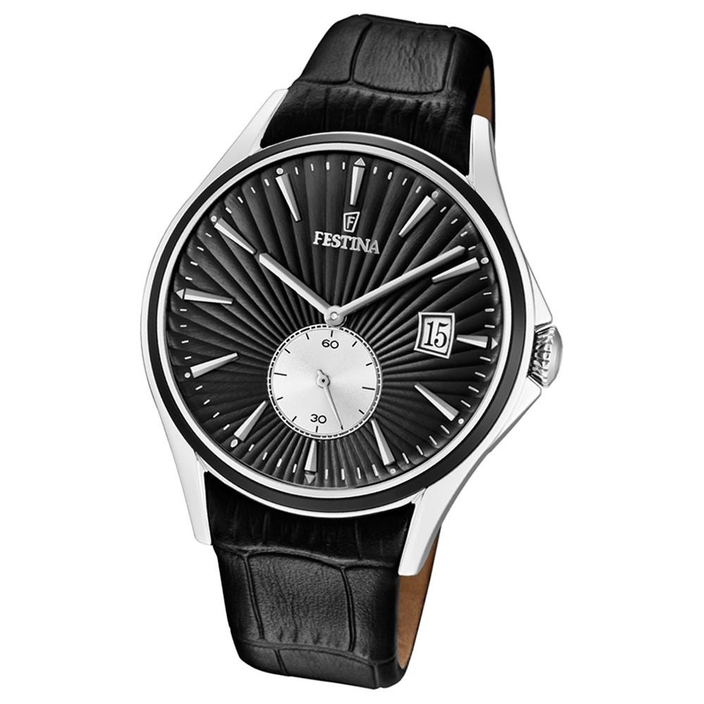 FESTINA Herren-Uhr Lederband klassisch F16980/4 Quarz Leder schwarz UF16980/4