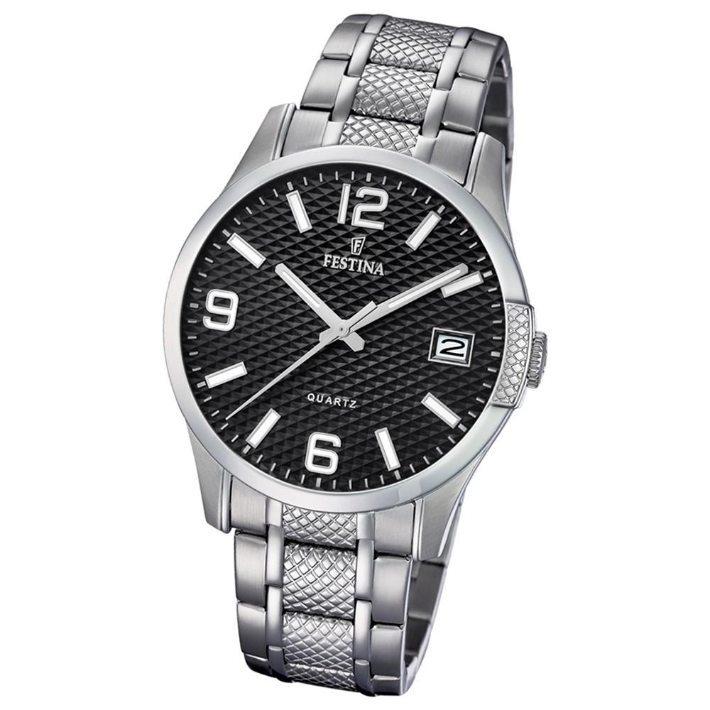 Festina Herren Armband-Uhr Klassik F16981/1 Quarz Edelstahl silber UF16981/1