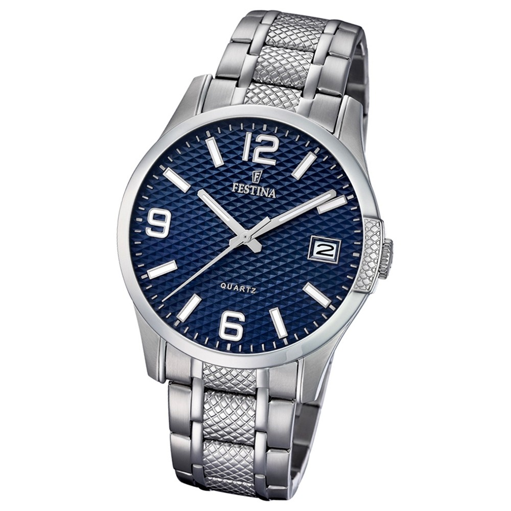 Festina Herren Armband-Uhr Klassik F16981/2 Quarz Edelstahl silber UF16981/2