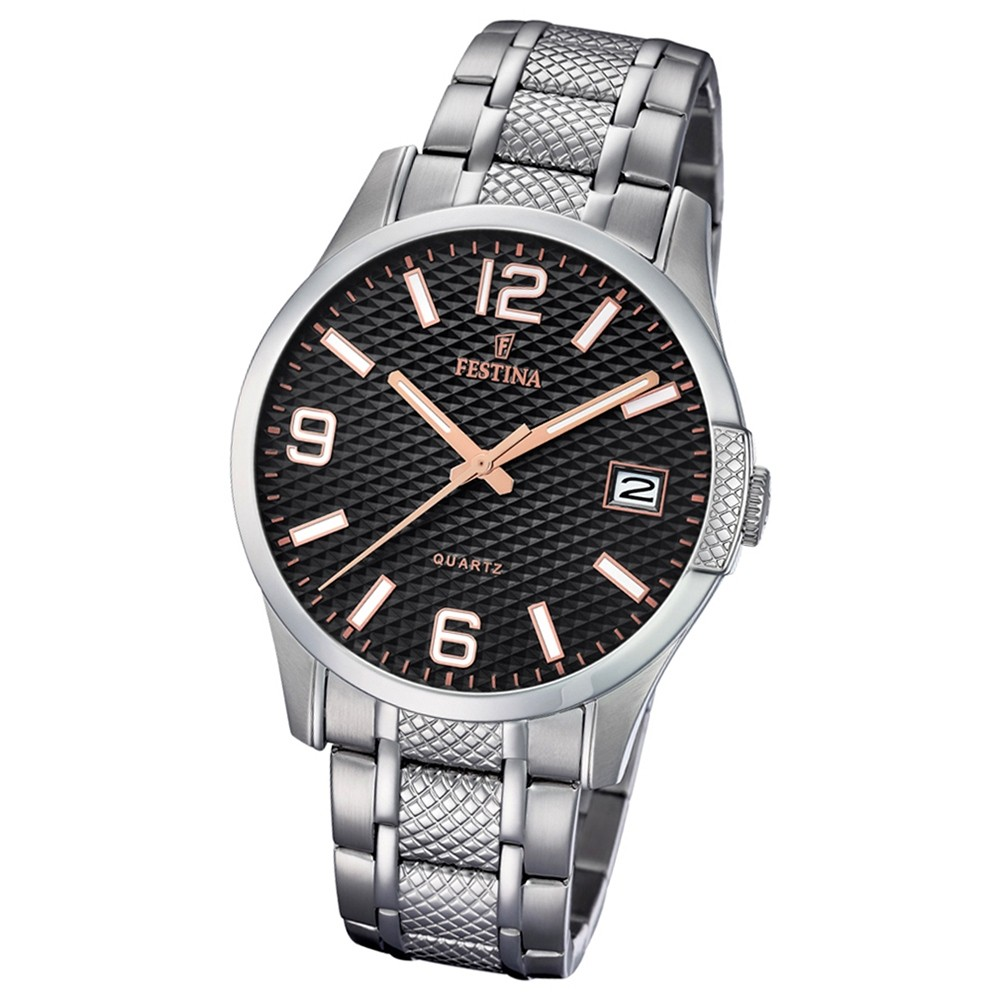 Festina Herren Armband-Uhr Klassik F16981/3 Quarz Edelstahl silber UF16981/3