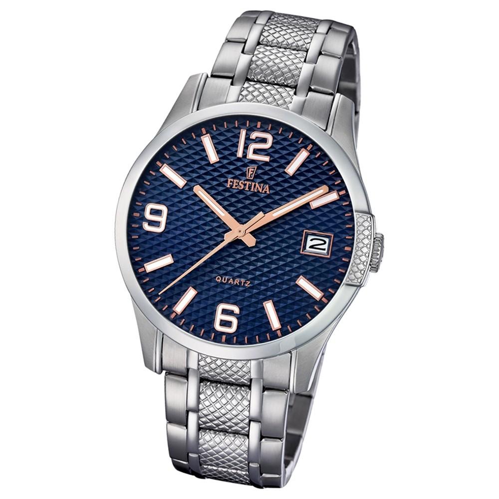 Festina Herren Armband-Uhr Klassik F16981/4 Quarz Edelstahl silber UF16981/4