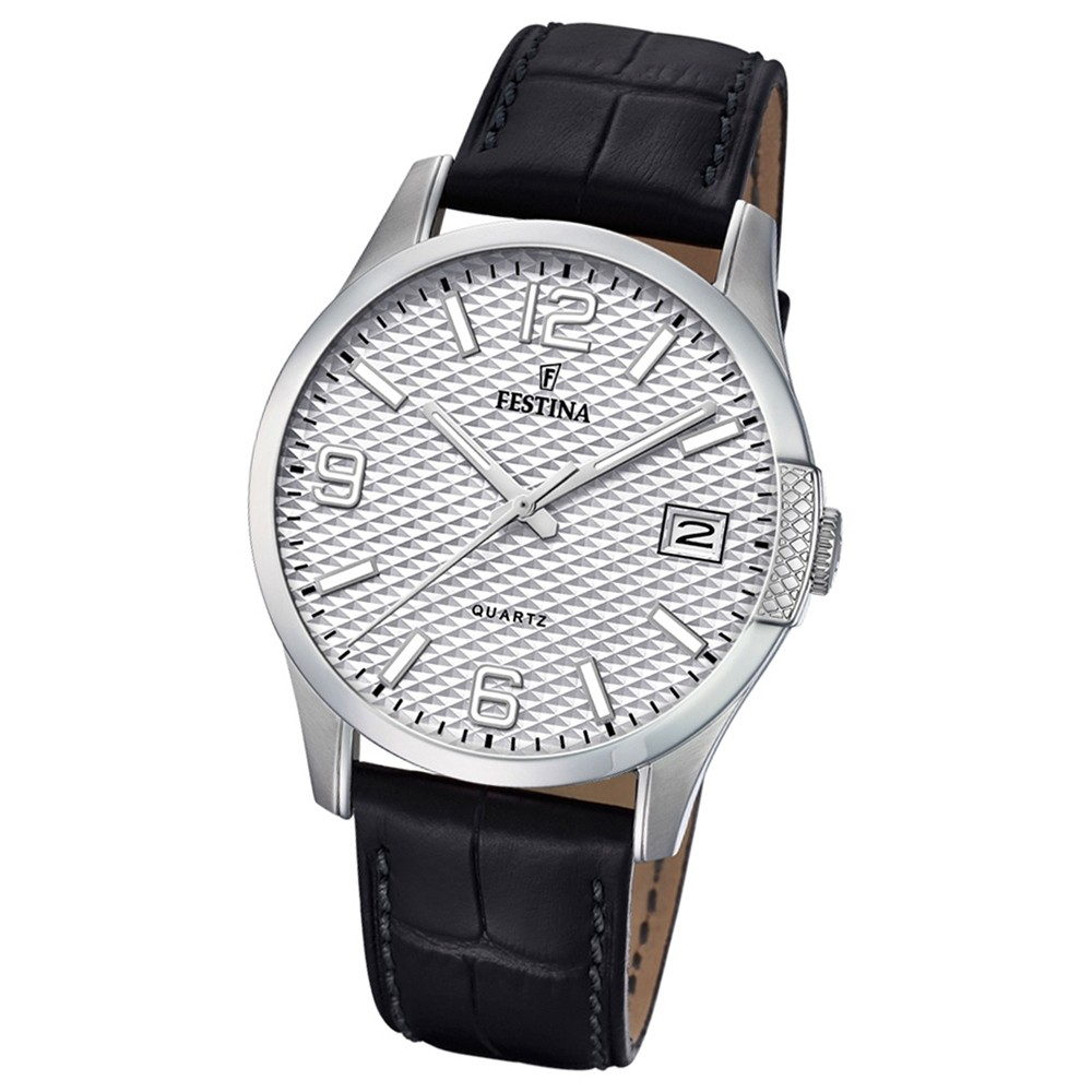 Festina Herren Armband-Uhr klassisch F16982/1 Quarz Leder schwarz UF16982/1