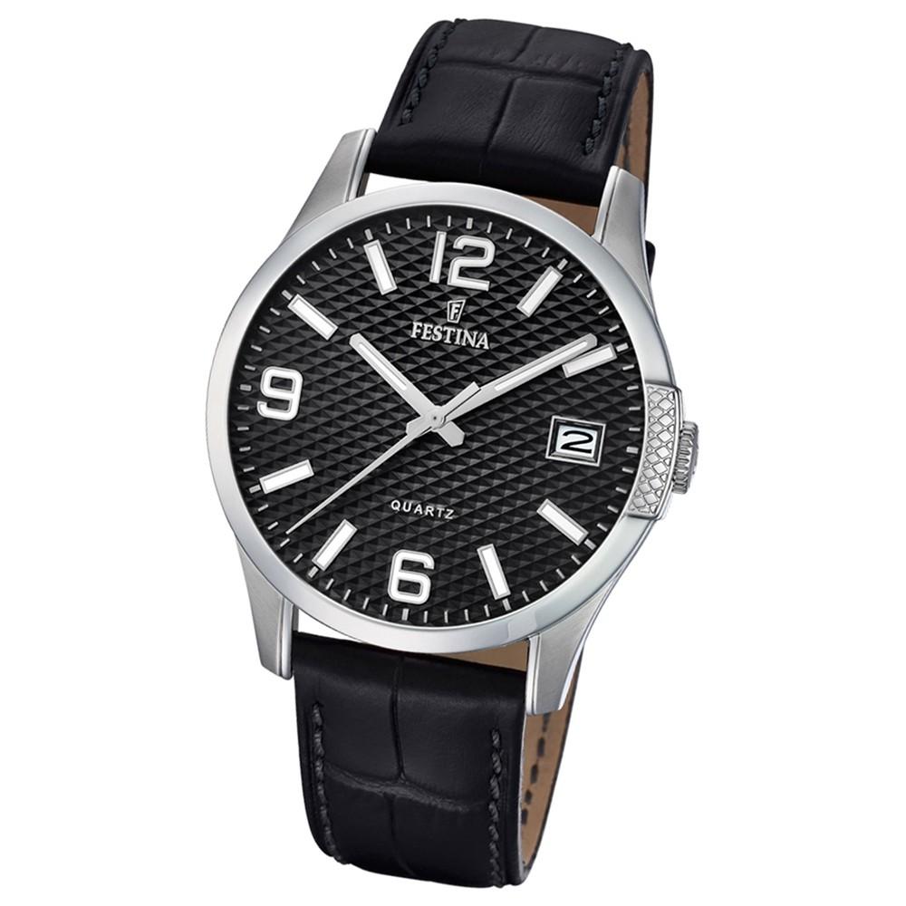 Festina Herren Armband-Uhr klassisch F16982/2 Quarz Leder schwarz UF16982/2