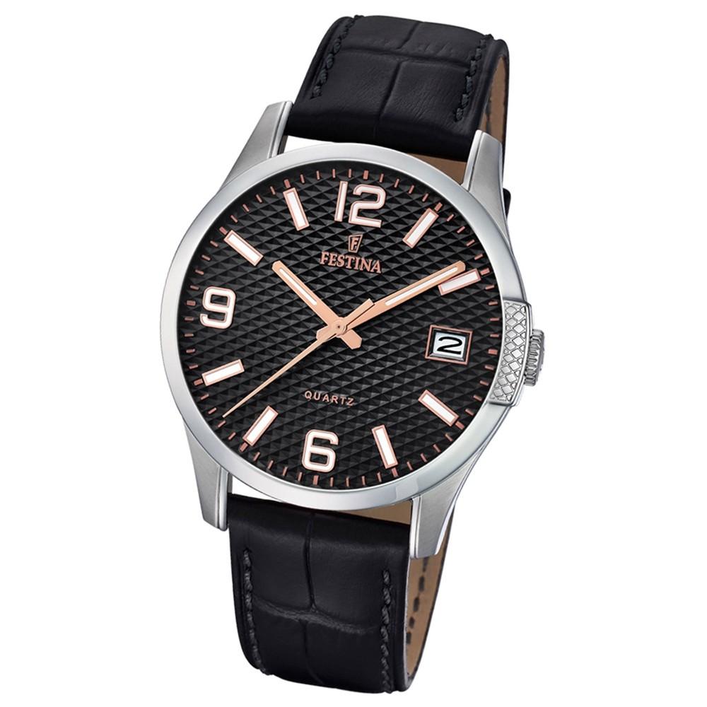 Festina Herren Armband-Uhr klassisch F16982/3 Quarz Leder schwarz UF16982/3