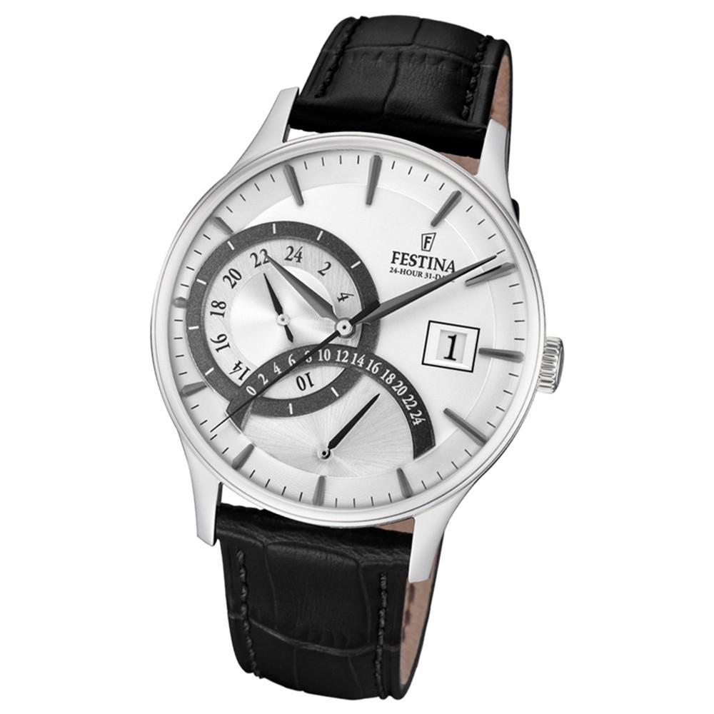 FESTINA Herren-Armbanduhr Dualtime F16983/1 Quarz Leder schwarz UF16983/1