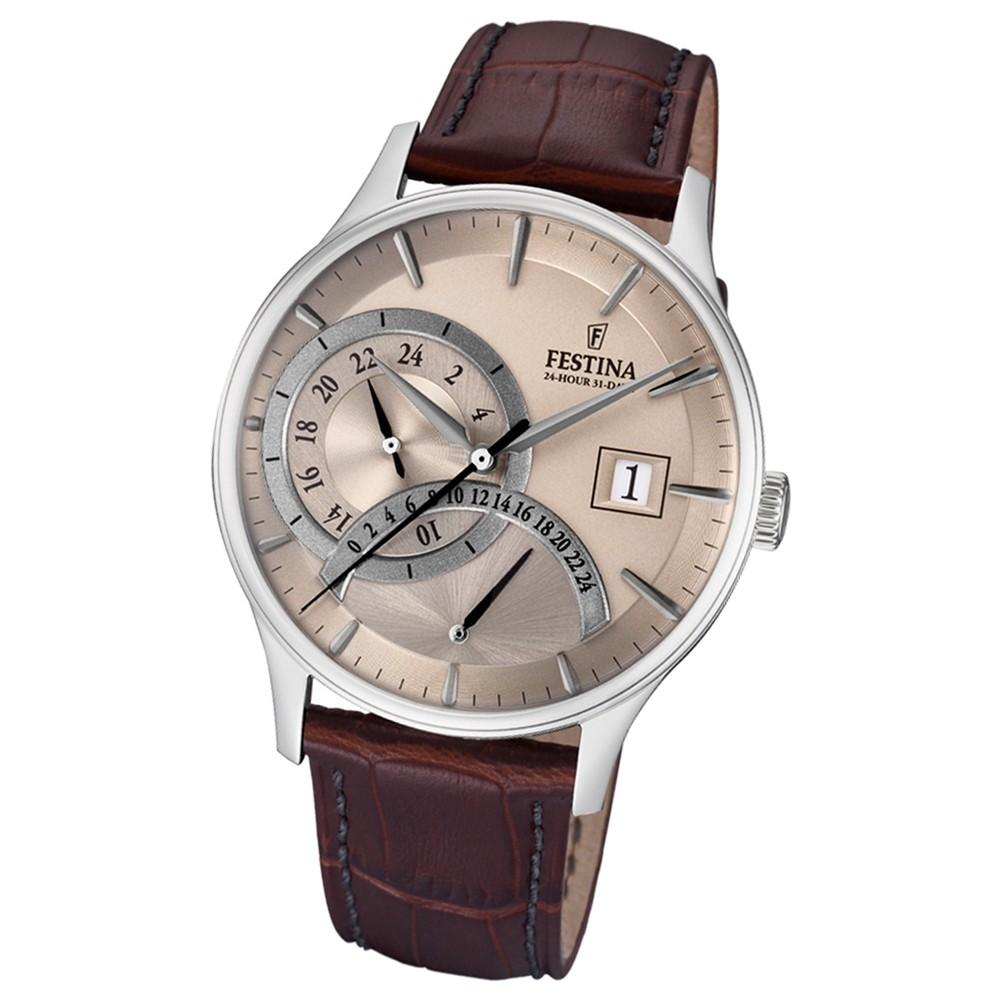 FESTINA Herren-Armbanduhr Dualtime F16983/2 Quarz Leder braun UF16983/2