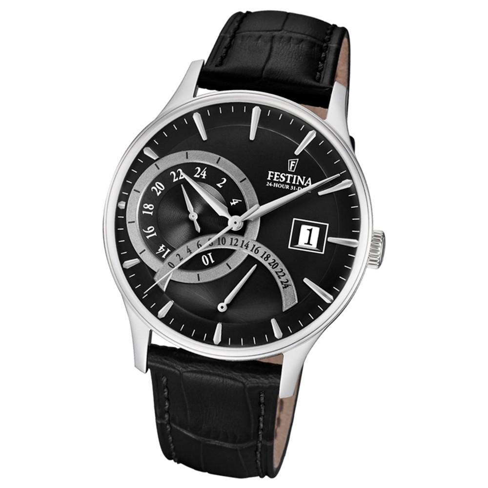 FESTINA Herren-Armbanduhr Dualtime F16983/4 Quarz Leder schwarz UF16983/4
