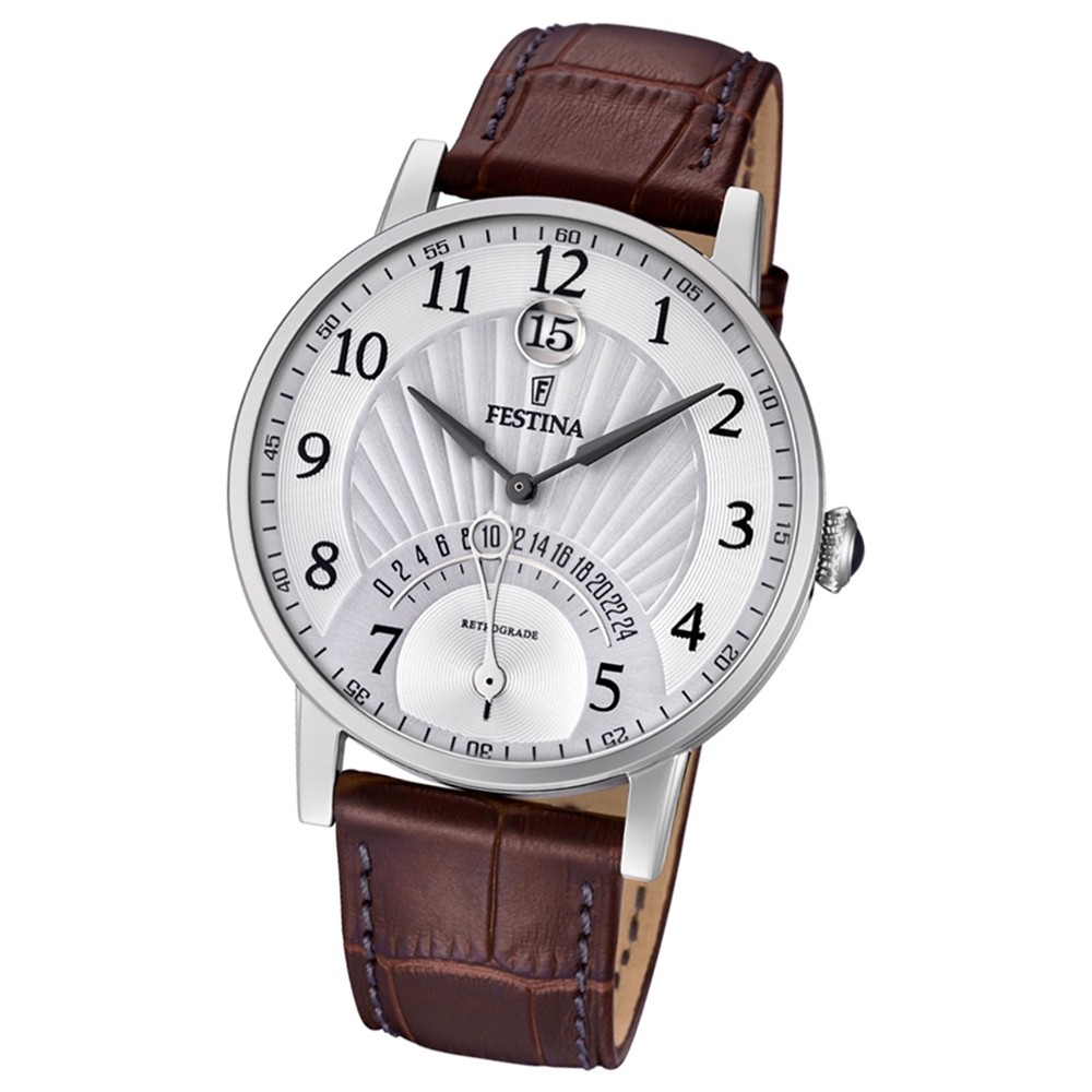 FESTINA Herren-Armbanduhr Dualtime F16984/1 Quarz Leder braun UF16984/1