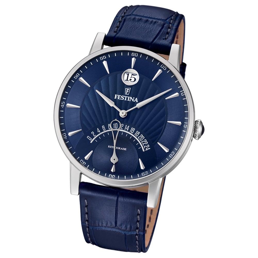 FESTINA Herren-Armbanduhr Dualtime F16984/3 Quarz Leder blau UF16984/3