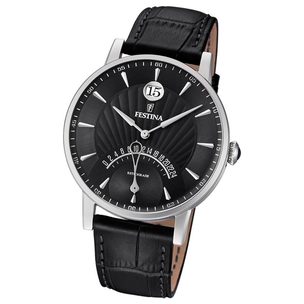 FESTINA Herren-Armbanduhr Dualtime F16984/4 Quarz Leder schwarz UF16984/4
