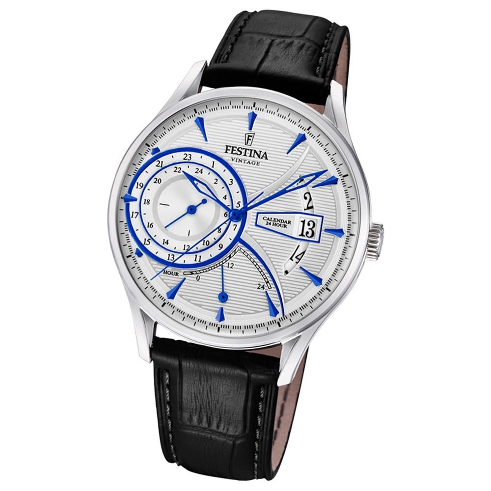FESTINA Herren-Armbanduhr Dualtime F16985/1 Quarz Leder schwarz UF16985/1