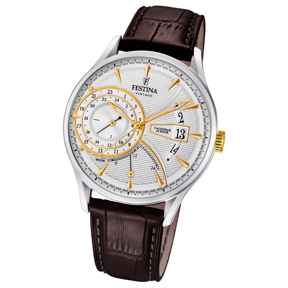 FESTINA Herren-Armbanduhr Dualtime F16985/2 Quarz Leder braun UF16985/2