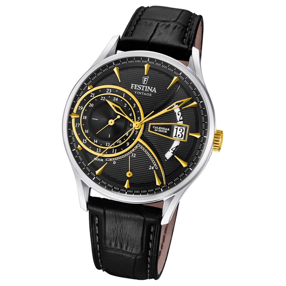 FESTINA Herren-Armbanduhr Dualtime F16985/4 Quarz Leder schwarz UF16985/4