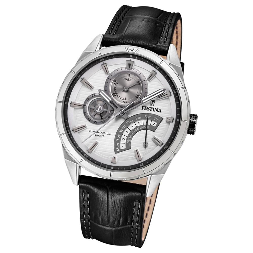 FESTINA Herren-Armbanduhr Dualtime F16986/1 Quarz Leder schwarz UF16986/1