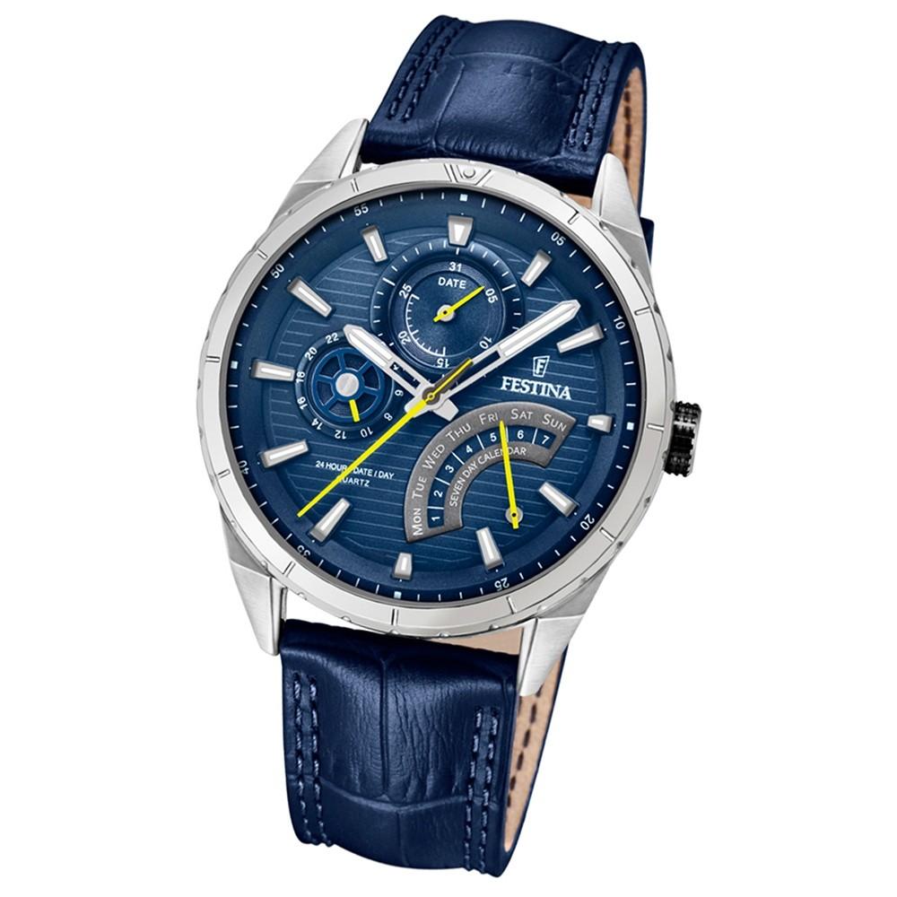 FESTINA Herren-Armbanduhr Dualtime F16986/2 Quarz Leder blau UF16986/2