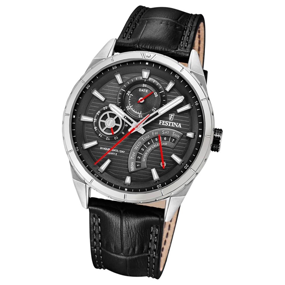 FESTINA Herren-Armbanduhr Dualtime F16986/3 Quarz Leder schwarz UF16986/3