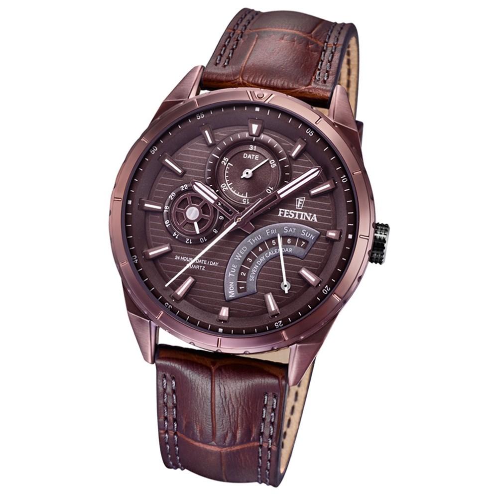 FESTINA Herren-Armbanduhr Dualtime F16988/1 Quarz Leder braun UF16988/1