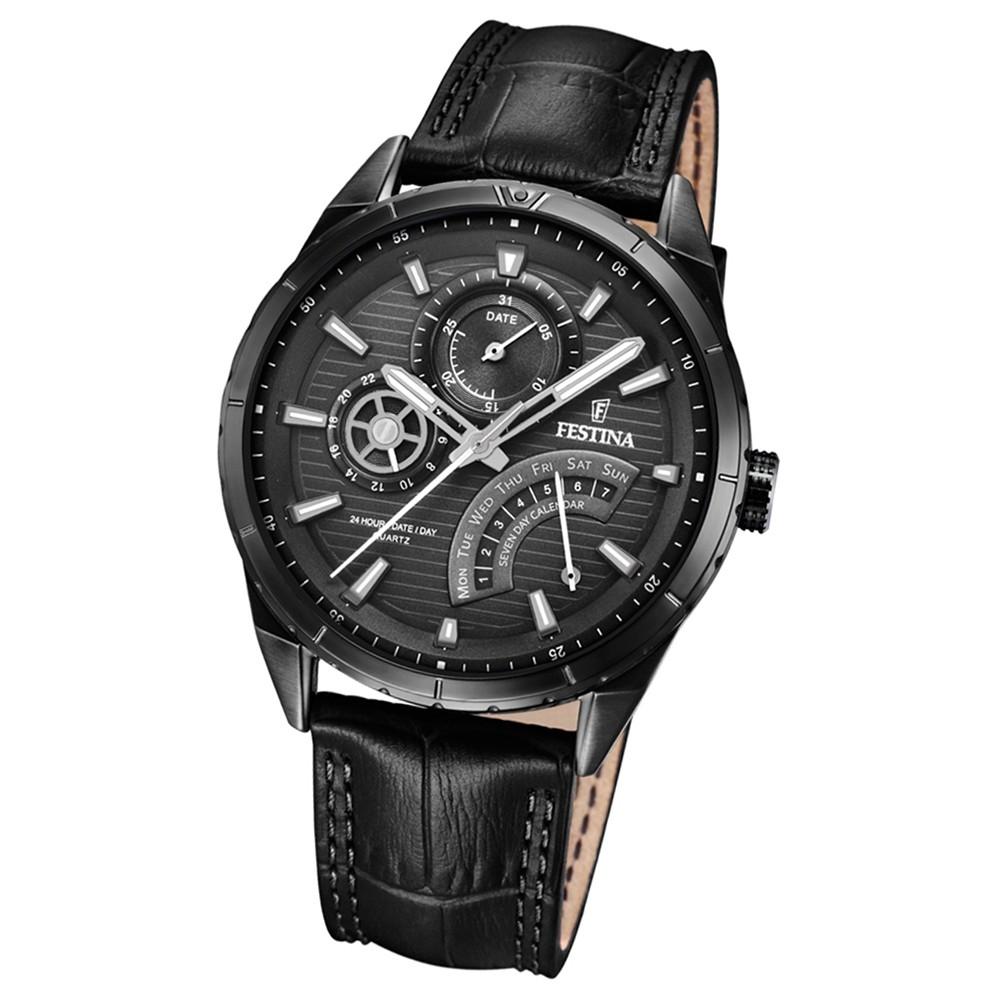 FESTINA Herren-Armbanduhr Dualtime F16989/1 Quarz Leder schwarz UF16989/1