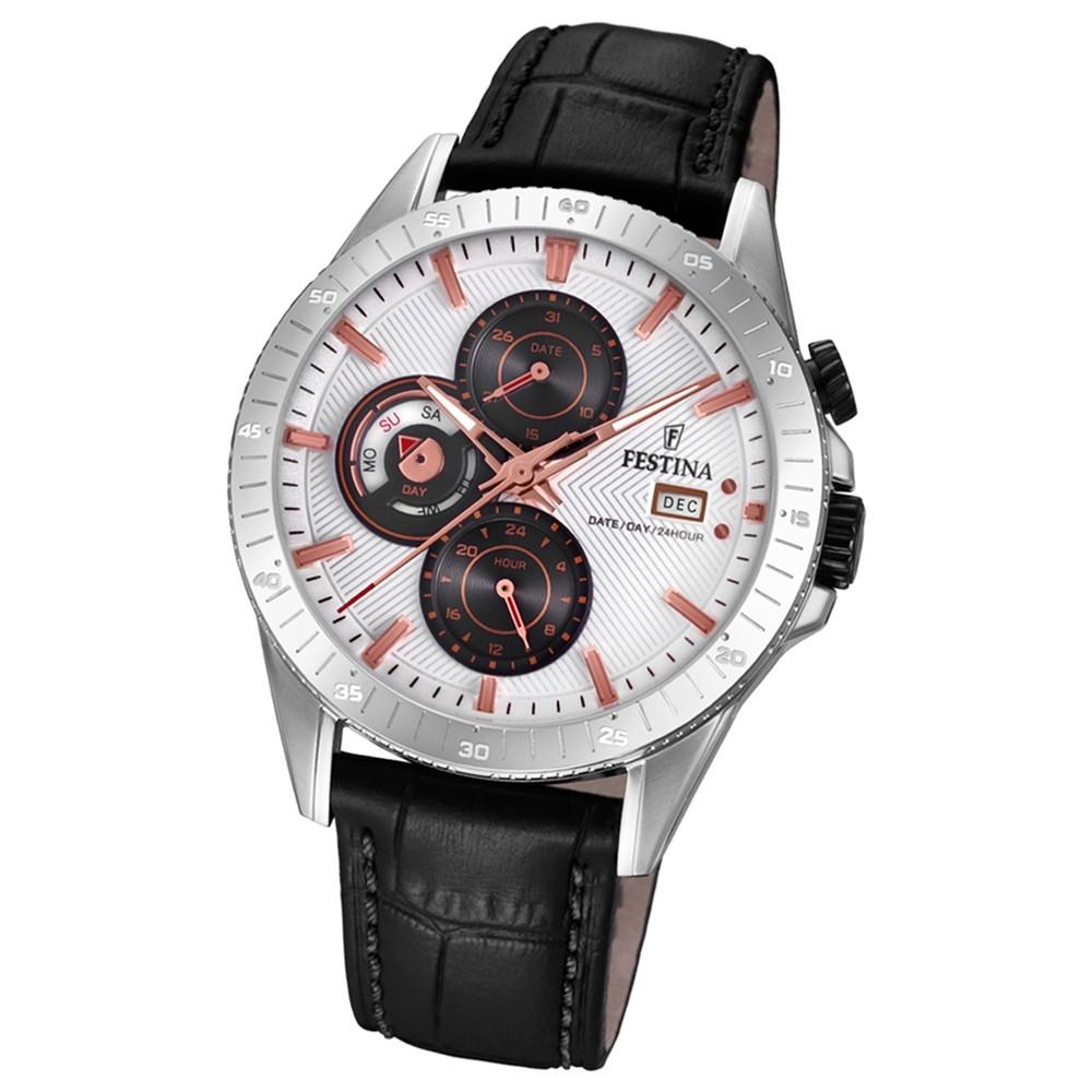 FESTINA Herren-Armbanduhr Multifunktion F16990/1 Quarz Leder schwarz UF16990/1