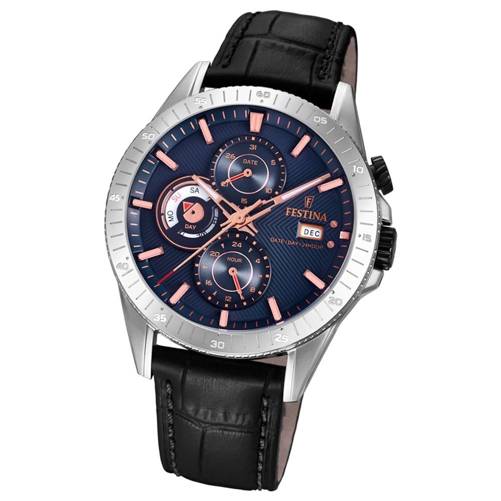 FESTINA Herren-Armbanduhr Multifunktion F16990/2 Quarz Leder schwarz UF16990/2