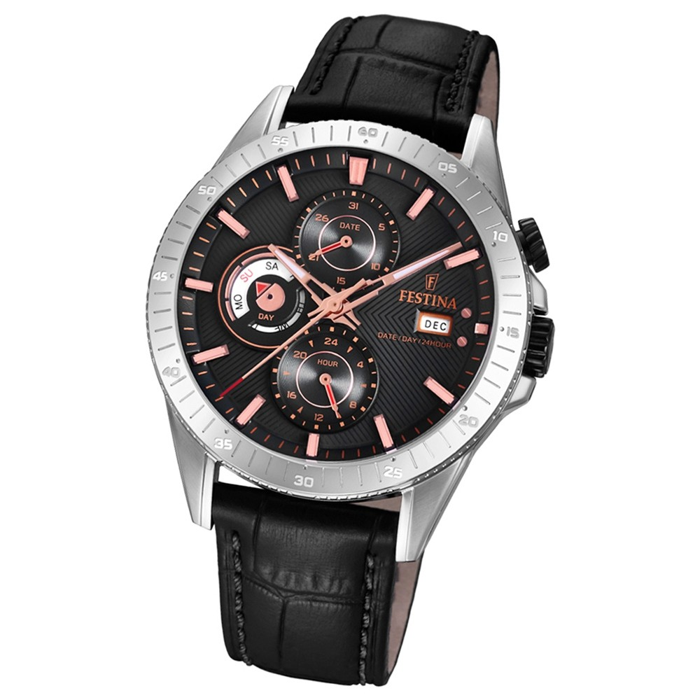 FESTINA Herren-Armbanduhr Multifunktion F16990/3 Quarz Leder schwarz UF16990/3