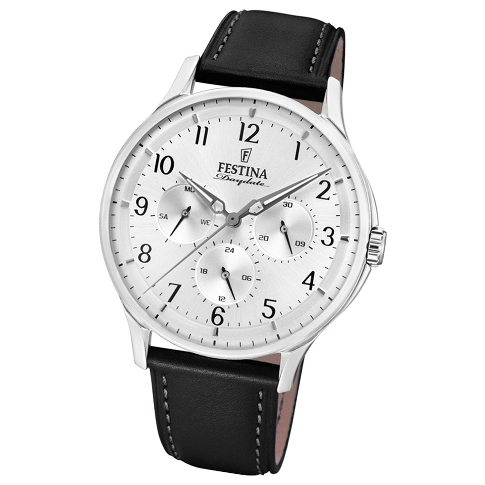 FESTINA Herren-Armbanduhr Multifunktion F16991/1 Quarz Leder schwarz UF16991/1