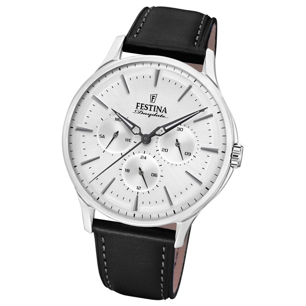 FESTINA Herren-Armbanduhr Multifunktion F16991/2 Quarz Leder schwarz UF16991/2